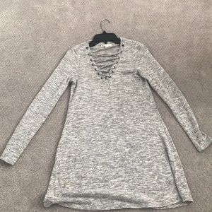 Grey lace up bust casual dress